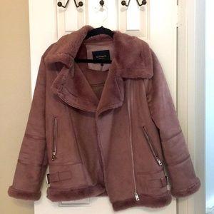 Dusty Rose Faux Fur Lined Moto Jacket Coat